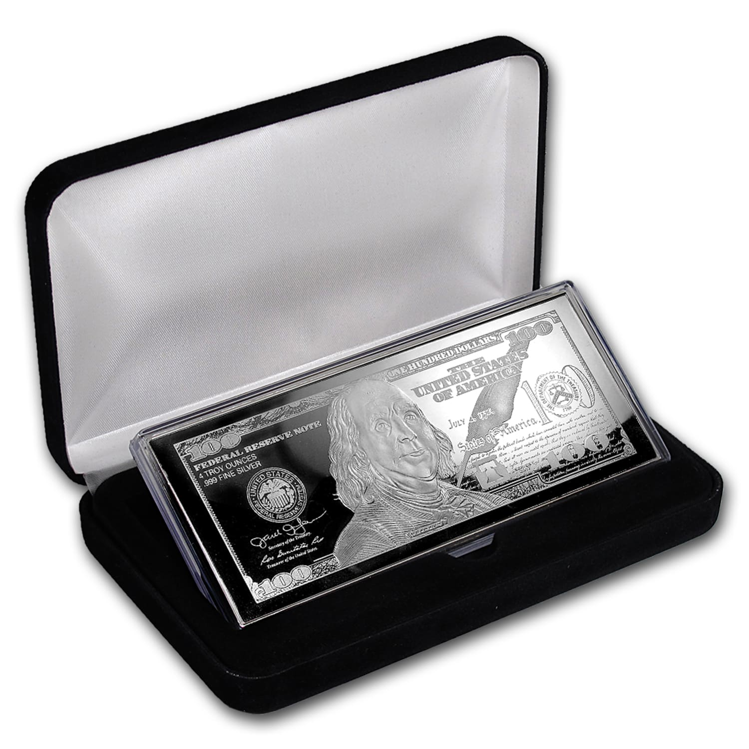 4 oz Silver Bar - 2017 $100 Bill (w/Box & COA)
